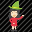 cartoon girl witch, child witch, kids cartoon character, little girl witch, witch cartoon character icon