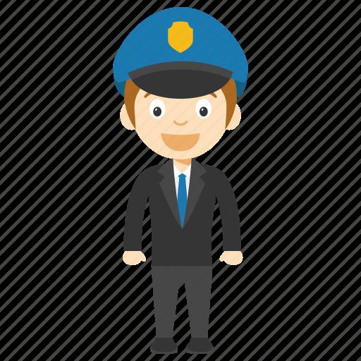 animated policeman character, child policeman, cop character, kid cop cartoon character, young cop cartoon icon