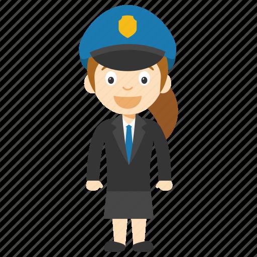 child police, girl cop cartoon, girl cop character, kid police character, little girl police officer icon