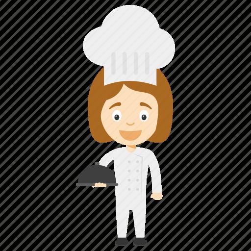 cartoon chef, cartoon girl chef, child chef, child girl chef, kid cartoon chef icon