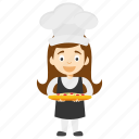 cartoon chef, cartoon girl chef, child chef, child girl chef, kid cartoon chef icon