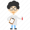 boy scientist, kids cartoon character, cartoon boy scientist, cartoon scientist, scientist boy