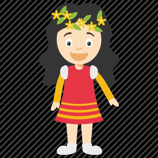 cartoon character, cartoon girl, cute little girl, girl with flower in hair, girl with wreath icon