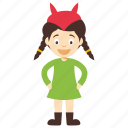devil girl cartoon, devil girl character, kids cartoon character, devil horns, devil female child