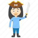 cartoon pirate girl, funny pirate, kids cartoon character, pirate kid, pirate kid cartoon icon