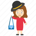 cartoon girl holding handbag, fashion girl cartoon, kids cartoon character, modern cartoon character, modern cartoon girl icon