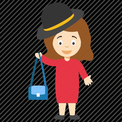 cartoon girl holding handbag, fashion girl cartoon, kids cartoon character, modern cartoon character, modern cartoon girl icon