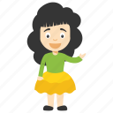 cartoon girl, child girl, kid cartoon character, kid cartoon girl icon