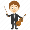 cartoon boy violinist, cartoon boy with violin, cartoon violinist, kids cartoon character, little boy violinist icon
