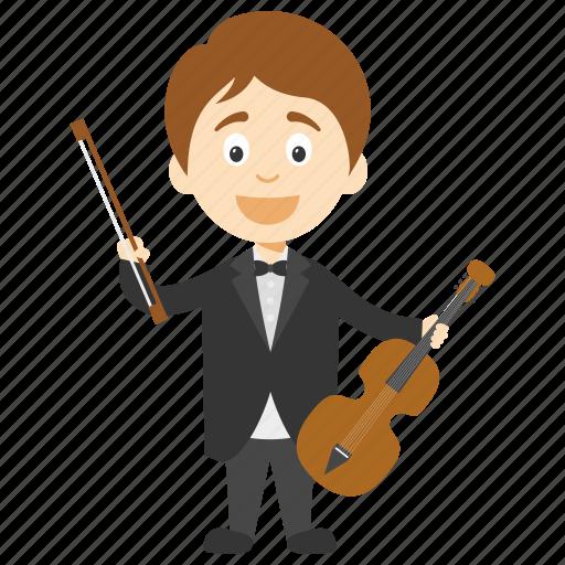 cartoon boy violinist, cartoon boy with violin, cartoon violinist, kids cartoon character, little boy violinist icon