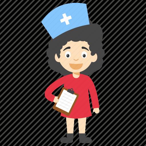cartoon nurse, cartoon nurse character, cute cartoon nurse, cute nurse, little cartoon nurse icon