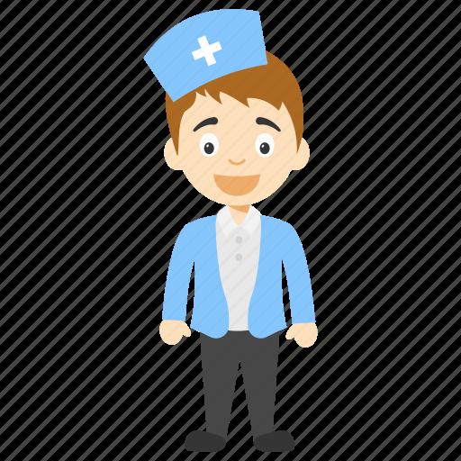 cartoon nurse, cartoon nurse character, cartoon nurse wearing mask, little cartoon nurse, male nurse icon