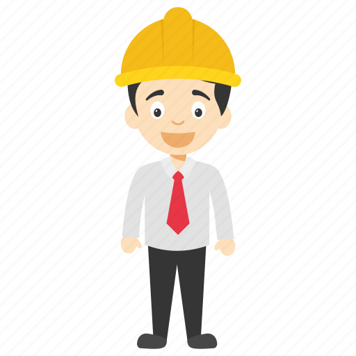 architect cartoon character, cartoon architect, cartoon builder, cartoon constructor, cartoon engineer character icon