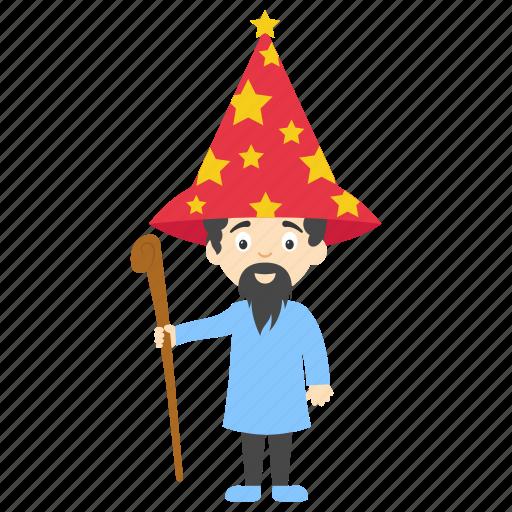 cartoon halloween wizard, cartoon wizard holding wand, kids cartoon character, wizard cartoon, wizard cartoon character icon