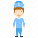 cartoon navy sailor, cartoon sailor, cartoon sailor character, cartoon seaman, kids cartoon character icon