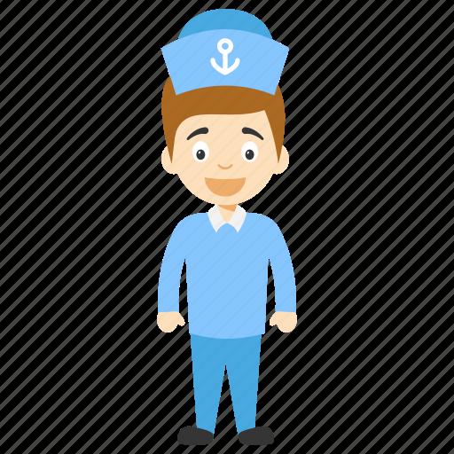 cartoon navy sailor, cartoon sailor, cartoon sailor character, cartoon seaman, kids cartoon character icon