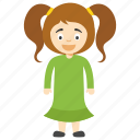 cartoon girl with ponytail, cute cartoon girl, cute little girl, kids cartoon character, two ponytail girl icon