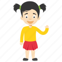 child waving, cute cartoon girl, cute little girl, kids cartoon character, two ponytail girl