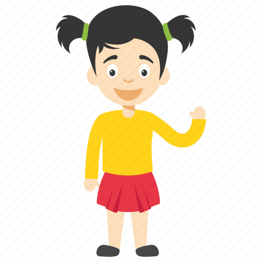 Child Waving Cute Cartoon Girl Cute Little Girl Kids Cartoon