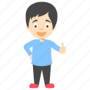 cartoon boy giving thumb up, cartoon child, cartoon kid, cartoon little boy, cute little boy icon