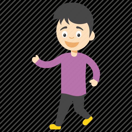 cartoon boy walking, cartoon boy wandering, cartoon character passing, kids cartoon character, pedestrian cartoon kid icon