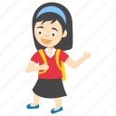 school girl with bag, kids cartoon character, cartoon school girl, little school girl, cartoon student girl