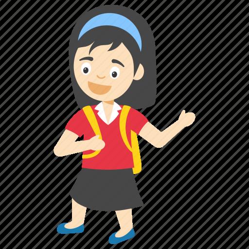 cartoon school girl, cartoon student girl, kids cartoon character, little school girl, school girl with bag icon