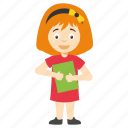 cartoon girl holding book, cartoon school girl, happy cartoon kid, cartoon kid holding book, cute cartoon kid