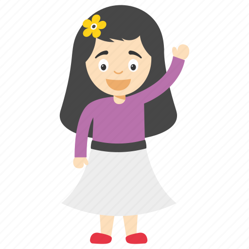cartoon girl pointing finger, girl pointing to the right, kid cartoon girl, little cartoon girl, little girl pointing cartoon icon