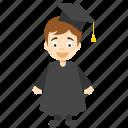 cartoon graduate student, child graduation character, graduate cartoon character, kid cartoon character, kid graduate cartoon icon