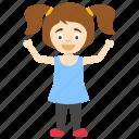 cute joyful cartoon girl, happy cartoon child, happy cartoon girl, happy little girl, kids cartoon character icon