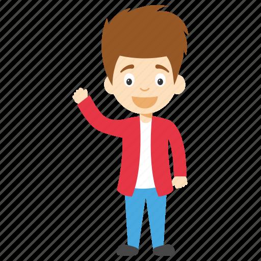 cartoon boy waving, child waving, cute cartoon boy, cute little boy, kids cartoon character icon