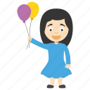 balloon girl cartoon, birthday cartoon girl, cartoon girl holding balloons, girl playing with balloon, girl with balloons icon