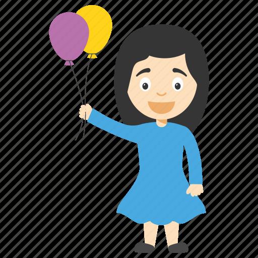 balloon girl cartoon, birthday cartoon girl, cartoon girl holding balloons, girl playing with balloon, girl with balloons icon