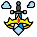 boy, crown, prince, sword, toy icon