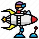 toy, astronaut, rocket, spaceship, rocketship