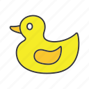 bath, child, duck, kid, play, rubber, toy icon