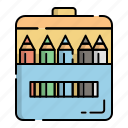 colored pencils, coloring, drawing, education, kindergarten, pencil, student icon