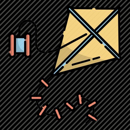Children, fly, kindergarten, kite, play, string, toys icon - Download on Iconfinder