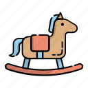 decoration, kid, kindergarten, play, riding, rocking horse, toy