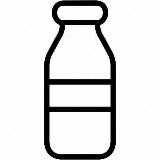 bottle, food, glass, kitchen, milk icon