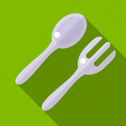 food, kitchen, shadow, sork, spoon, utensil icon