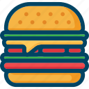 burger, cheeseburger, eat, fast, food, sandwich, street icon