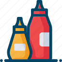 condiments, eat, food, ketchup, mustard icon