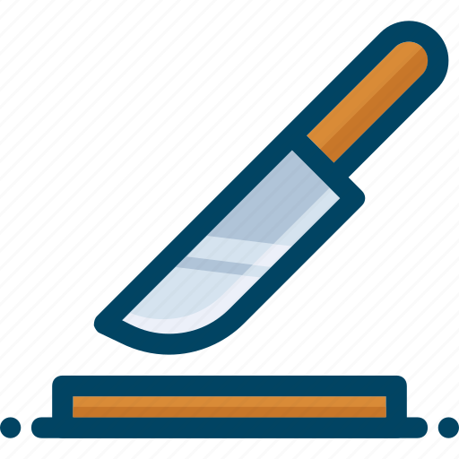cook, cut, kitchen, knife, slice, table icon