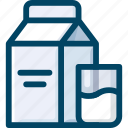 beverage, box, drink, glass, milk icon
