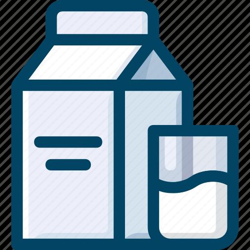 beverage, box, drink, glass, milk icon
