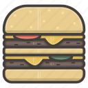 burger, cheeseburger, fast, fastfood, food, hamburger, large icon