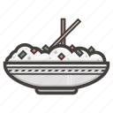 bowl, chopsticks, food, rice icon