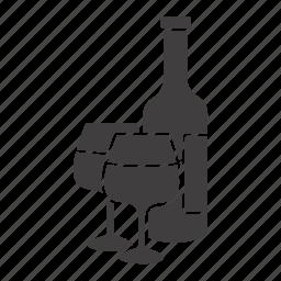alcohol, bar, beverage, bottle, drink, wine, wineglasses icon